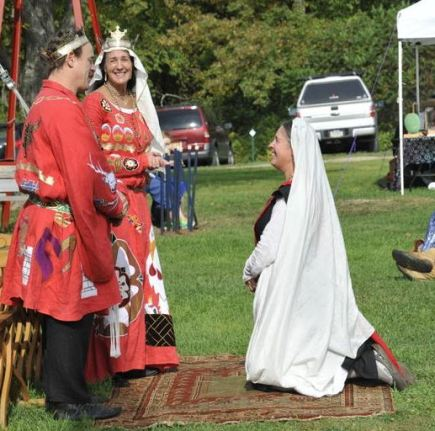 Lady Rowena is made a Court Baroness. Photo by Baron Steffan.
