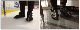Close-ups of wearing the shoes with skates