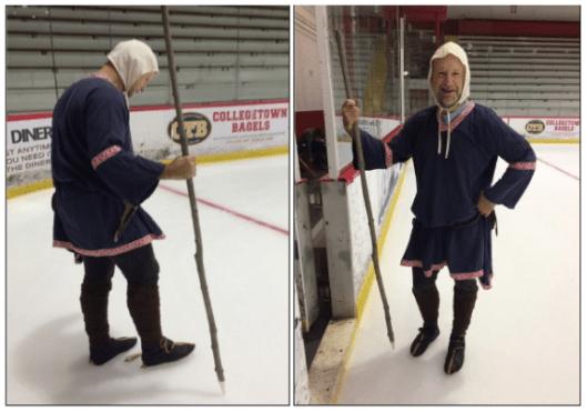 The author wearing turnshoes on bone ice skates