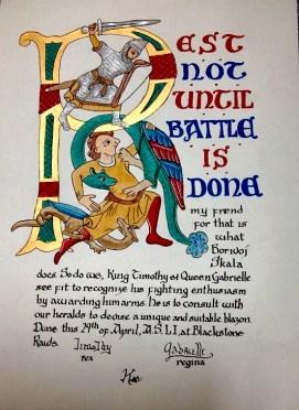 Lord Borivoj's AoA scroll by Baron Caleb Reynolds and Maureen O'Shea.