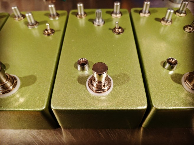 Enclosures for prototyping Lenore, a Fuzz/Overdrive.