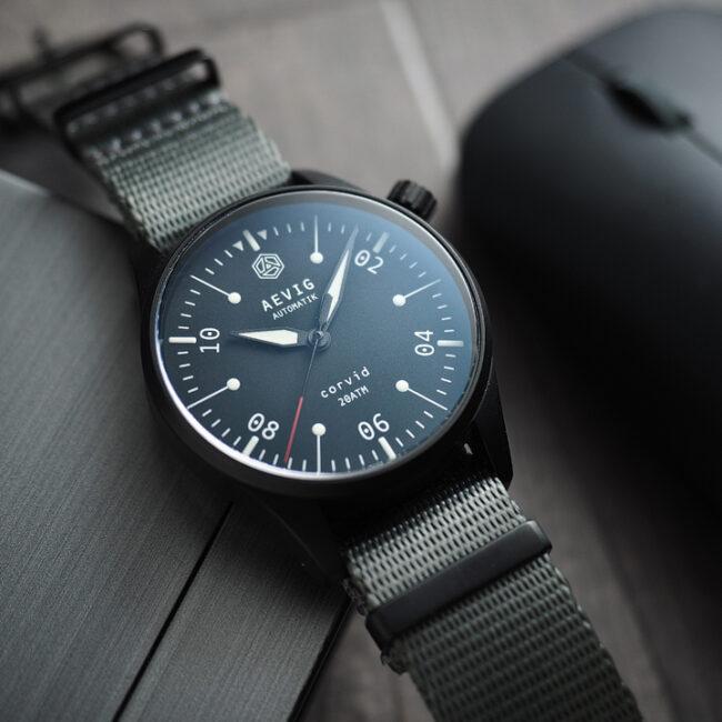 Aevig Corvid fieldwatch custom-made watch