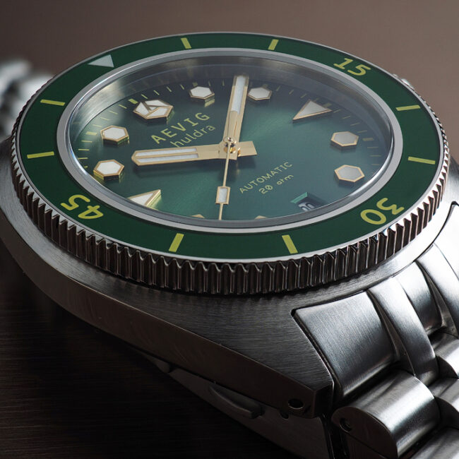 Aevig Huldra green custom-made watch