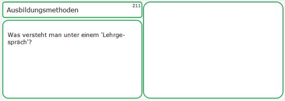 Nur die Frageseite zur Lernkarte 211: Ausbildungsmethoden