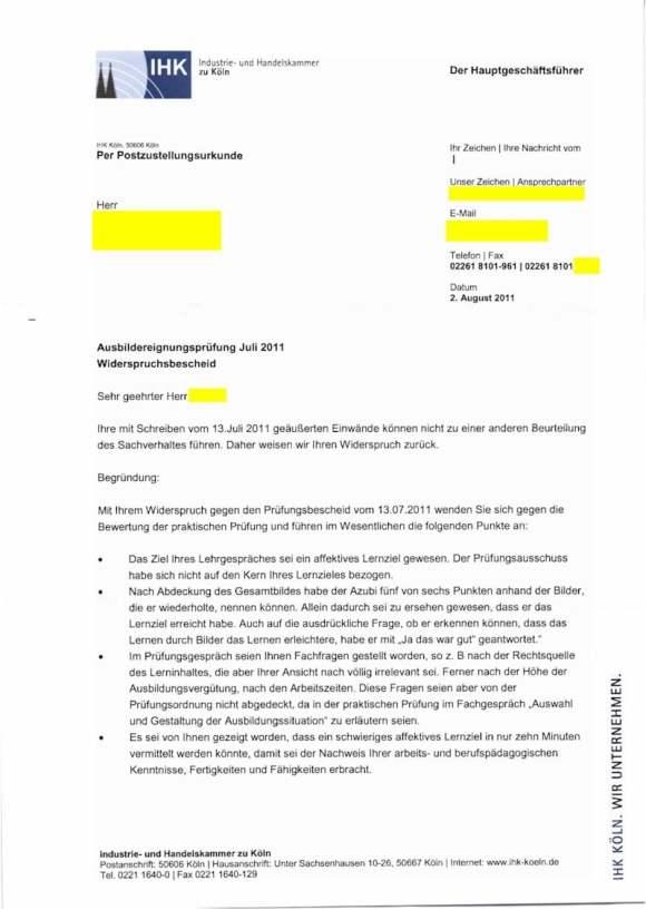 Ablehnungsbescheid der IHK Köln-Gummersbach nach Widerspruch durch den Prüfling
