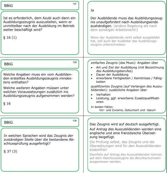 drei Lernkarten-Fragen zum Thema 'Zeugnis'