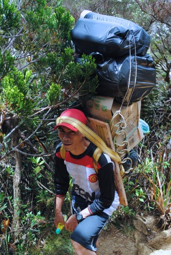 These porters carry up to 60kg, a few times weekly. One even had a generator on his back.