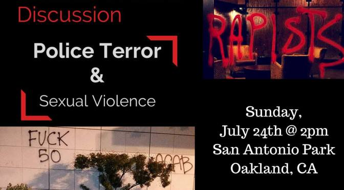 SF Bay Area | Womxn of Color Discussion on Police Terror and Sexual Violence on Sunday, July 24th