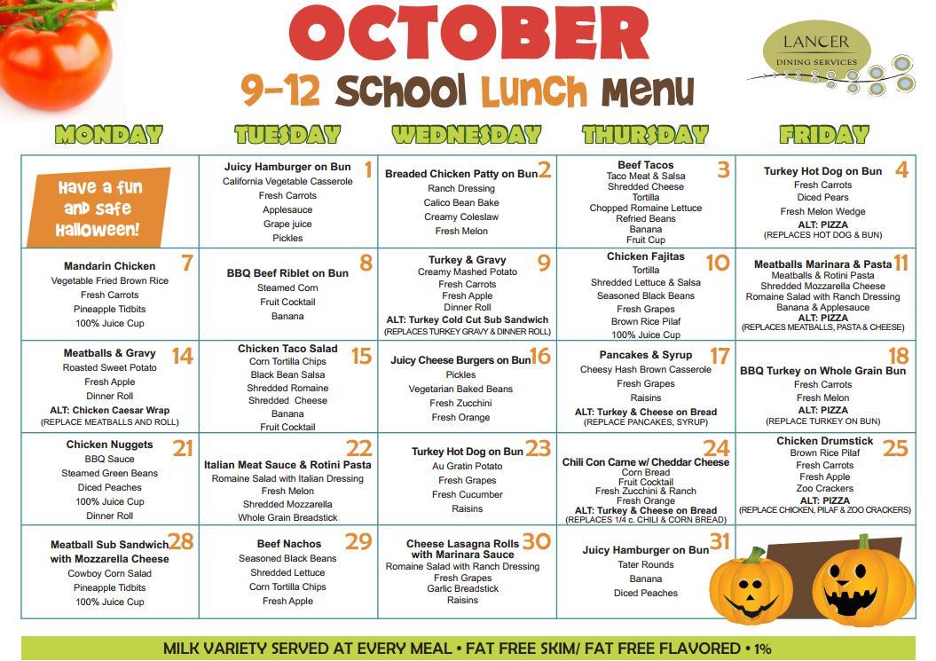 Healthy School Lunch Menu