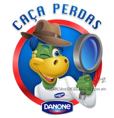 Logo Caça Perdas Danone logo dino danoninho jlima desenho mascote personagem mascot character design chapeu indiana jones lupa