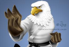 Aguia katare kimono eagle luta arte marcial mascote mascot character design personagem desenho cartum cartoon jlima faixa preta luta careca 3d conceito concept wacom imac procreate ipad adobe ideas pixelmator photoshop 3d