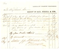 Kirkcaldy Foundery Warehouse. Mrs Oliphant [...]. Bought of Alex Russell & Son. 1842 February 15th [...] [...]. (total) £3/5/-. 1843 [January] 4th - Settled [...]