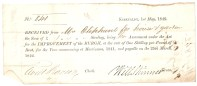 No 841. Kirkcaldy, 1st May 1842. Received from Mrs Oliphant for house & garden the Sum of £1/-/- Sterling, being her Assessment under the Act for the IMPROVEMENT of the BURGH, at the rate of One Shilling per Pound of Rent, for the Year commencing at Martinmas, 1841, and payable on the 25th March, 1842.