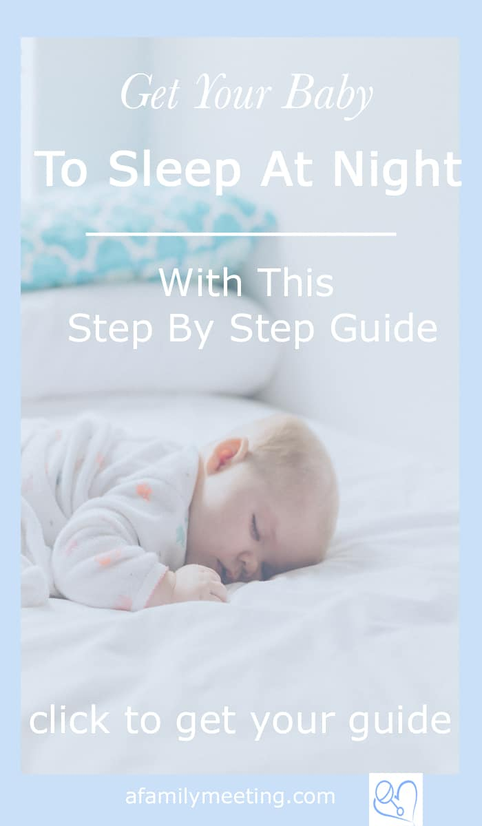 baby sleeping peacefully with text get your baby to sleep at night