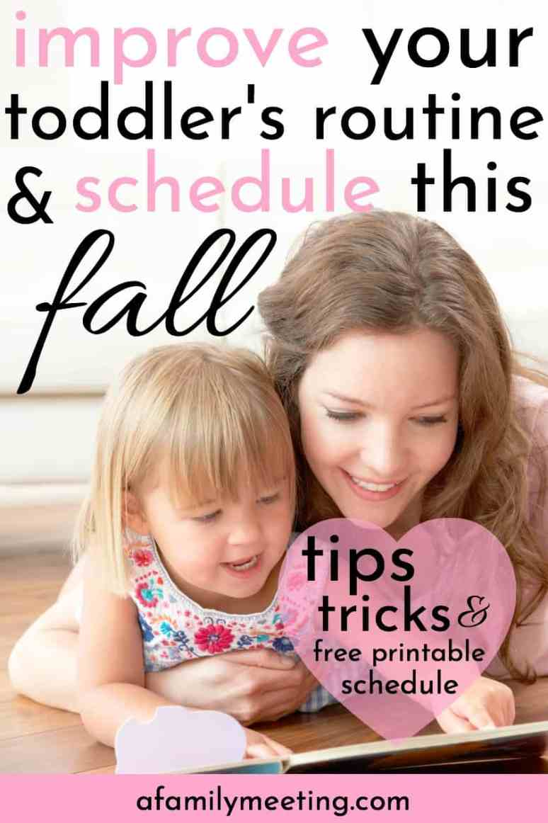 Your toddler routine and schedule can establish great child habits. Use the free printable schedule to set a daily routine and child schedule for your 1-3 year old. Mom tips, mom tricks, and mom advice for your child's routine. #momadvice #dailyroutine #toddlerschedule #toddlerroutine #freeprintableschedule #childdailyroutine