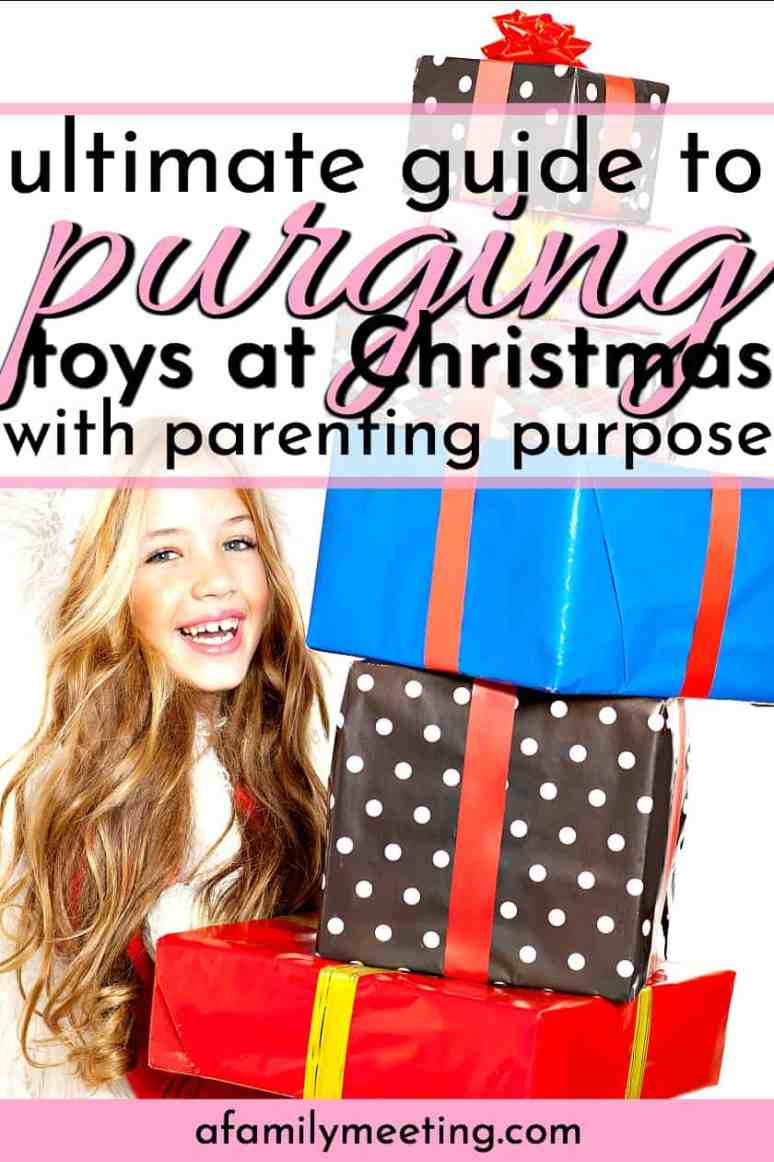 Purging your children's toys before the Holidays should be about more than reducing clutter and downsizing. This ultimate guide to purging toys before Christmas will show you how to use your holiday toy purge to combat a sense of entitlement and raise grateful kids. #purgingtoys #holidaytoypurge #Christmasspirit