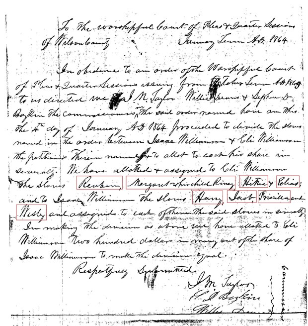WILLIAMSON -- Division of Slaves
