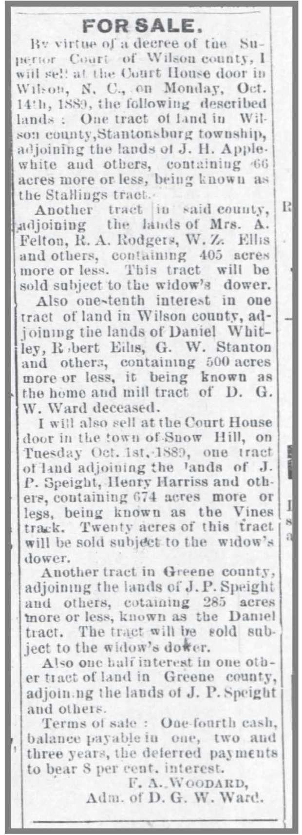 wilson_advance__8_22_1889_dgw_ward_estate_land_sale
