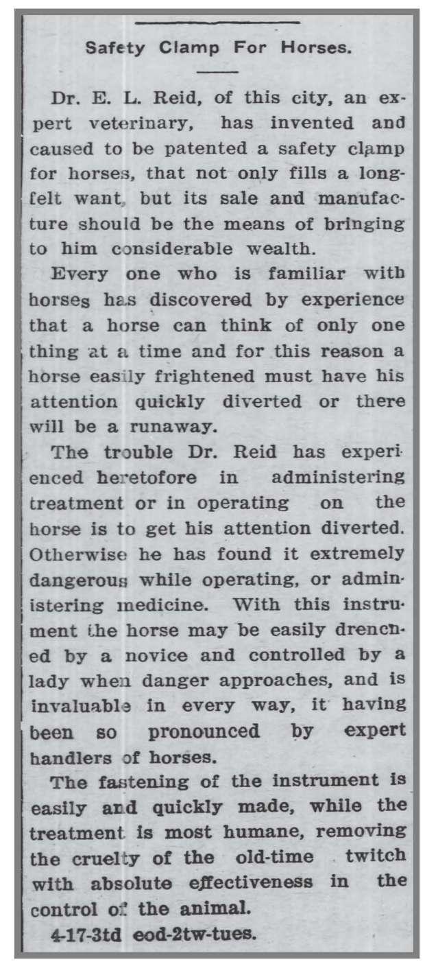 Wilson_Daily_Times_4_25_1911_EL_Reid_Clamp