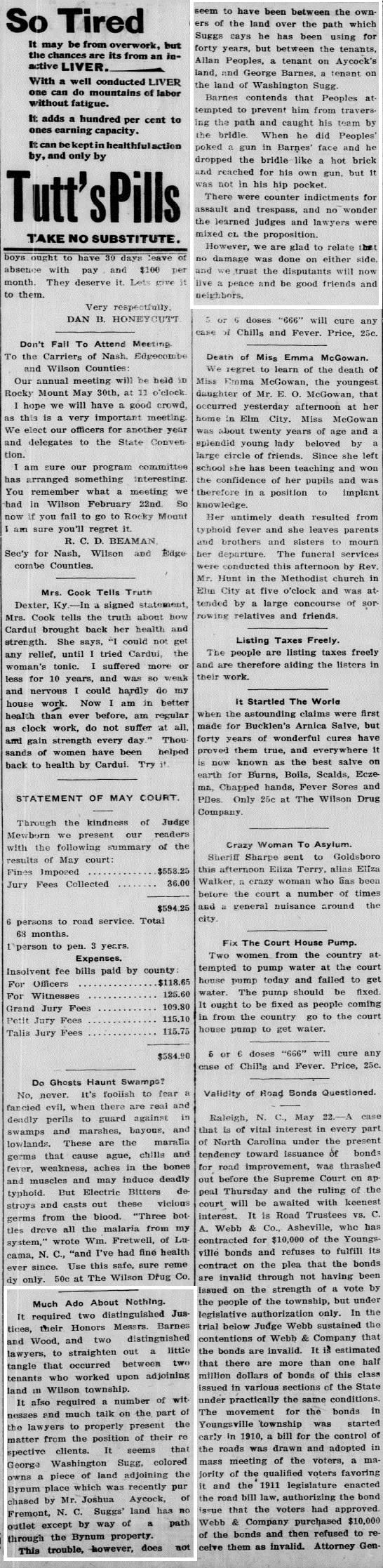 WDT 5 26 1911 Wash Suggs tenant dispute