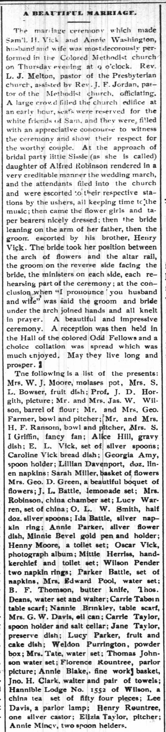 Wilson Mirror 6 1 1892 Vick Washington wedding