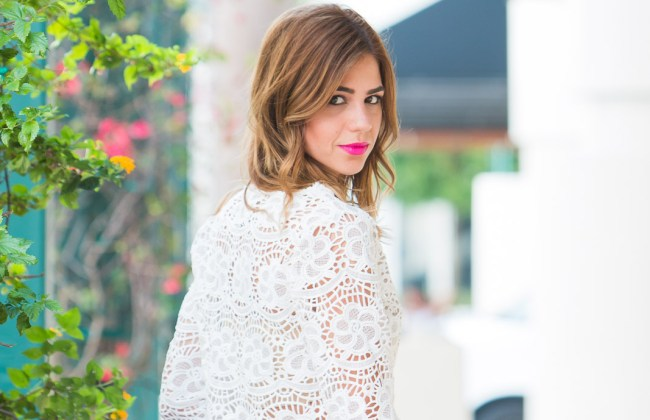 miami fashion blogger a fancy affair amanda tur style mafia white crotchet crop top daniel wellington leather strap watch zara pencil skirt steve madden brown heels orange brown spring and summer rebecca minkoff mini hot pink bag and hot pink lips