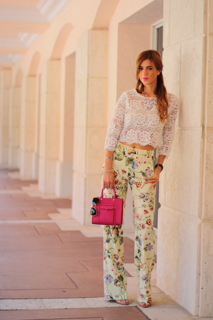 a fancy affair miami blogger fashion blogger amanda tur is wearing zara floral print wide leg pants with pink rebecca mink off bag and crotchet top from miami style mafia via velveteur  perfect for summer and spring trend