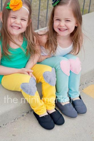 The Mini Market Leggings with Heart Knee Patches