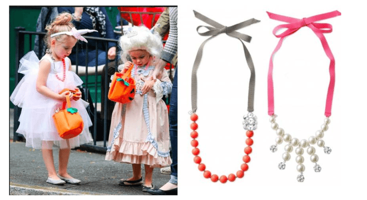 Tabitha & Marion Broderick go trick-or-treating wearing the Color Crush Statement Necklace and the Olive Pearl Bib Necklace from Stella & Dot