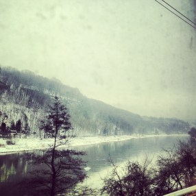 View from Berlin to Prague train - River Elbe Valley - Dirty Window