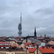 The TV tower blends seamlessly into the Prague skyline