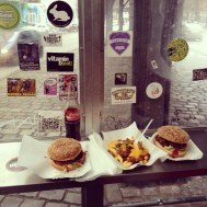 Burgers and chilli cheese chips from Burgermeister (a burger bar in an ex public bog) - well East Berlin