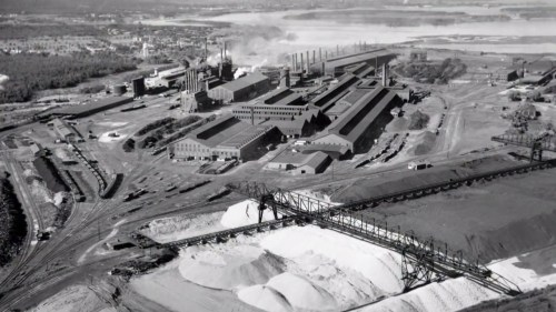 Black and white photo of US Steel Duluth Works