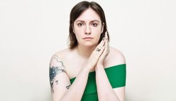 Lena Dunham in green dress with prayer hands from https://dankanator.com/11885/lena-dunham-apology-over-discrediting-rape-victim/