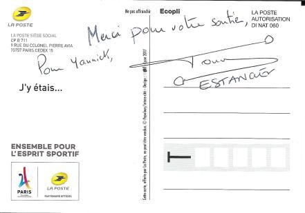 Carte postale, Tony Estanguet dédicace Paris 2024