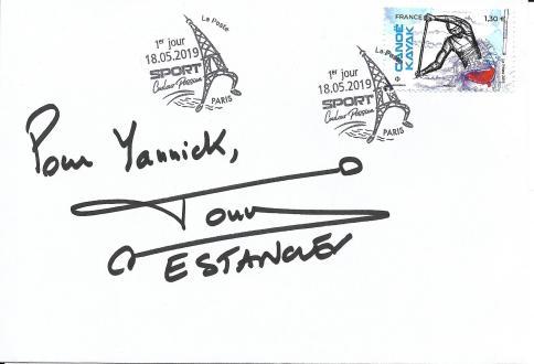 1er jour timbre Canoë kayak bloc sports 2019 Paris 2024, dédicace Tony Estanguet