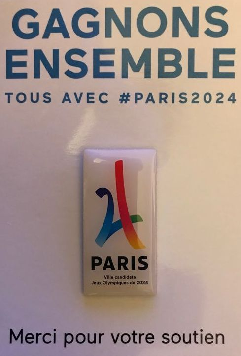 Pin's candidature Paris 2024 logo rectangulaire