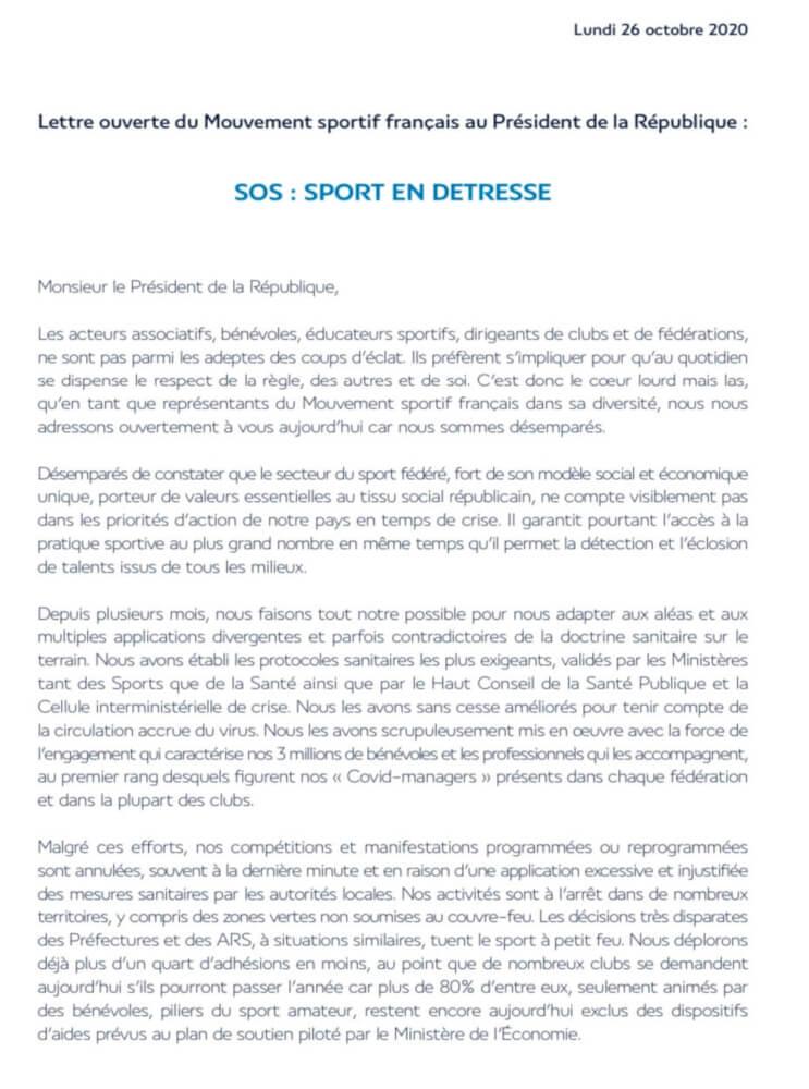 Lettre au Président de la République par le CNOSF partie 1