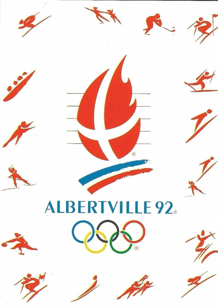 carte postale logo et dicisplines Albertville 1992