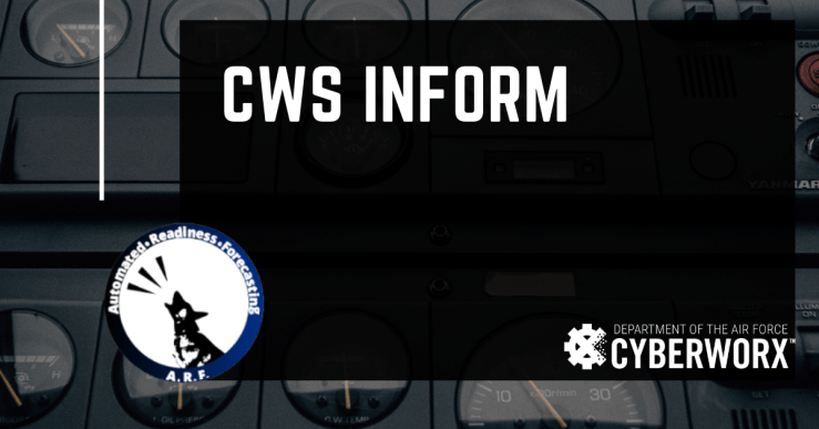 CWS Inform graphic with its predecessor's logo, the Automated Readiness Forecasting.