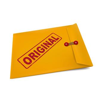 original on manila envelope isolated on white
