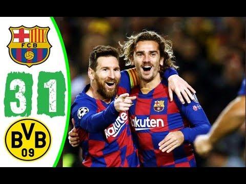 ملخص مباراة برشلونة و بوروسيا دورتموند 3-1 مباراة نارية تألق وهدف ميسي العالمي