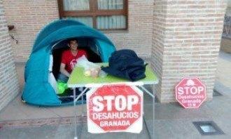 stop desahucio acampado en Alhendín. Marcha a Almería