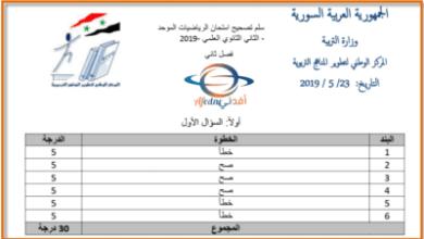 اسئلة وسلم تصحيح امتحان رياضيات حادي عشر سورية 2019 فصل ثاني