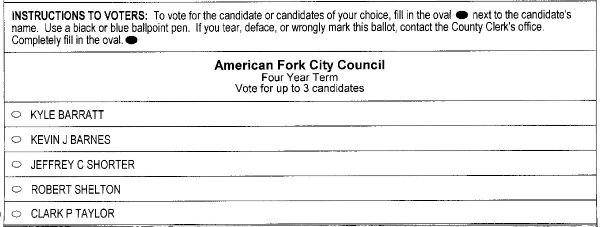 2019 American Fork ballot - city council