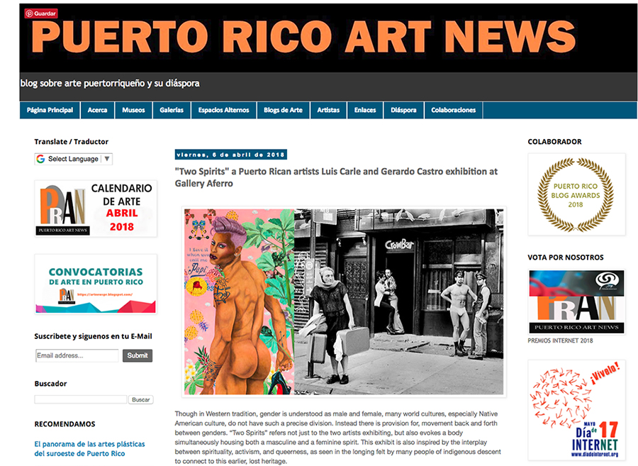 Two Spirits Puerto Rico Art News SMALL