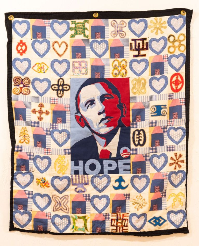 Hope Obama quilt at Gallery Aferro