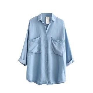 SILHO Plain 3/4-Sleeve Blouse
