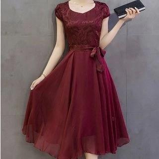 Allury Printed Cap-Sleeve Midi A-Line Dress