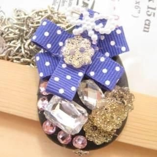 Golden button with lovely blue spot cotton necklace(Hand made)